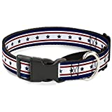 Buckle-Down Americana Stars & Stripes 6 Blue/White/Red Martingale Dog Collar, 1.5