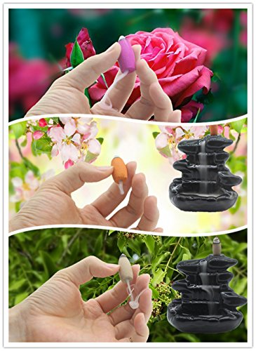 Backflow Incense Cones Green Tea Incense Osmanthus Incense Jasmine Incense Lavender Incense Rose Incense Sandalwood Mixed 6 Kinds of Fragrant Waterfall Cone Reflux Incense Cones