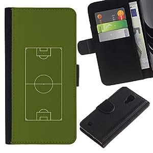 EJOY---Tirón de la caja Cartera de cuero con ranuras para tarjetas / Samsung Galaxy S4 IV I9500 / --Fútbol Campo de fútbol