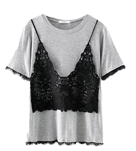- Jaycargogo Womens Summer Casual Lace Trim Short Sleeve Scoop Neck Fake Two Piece T-Shirt Grey OS