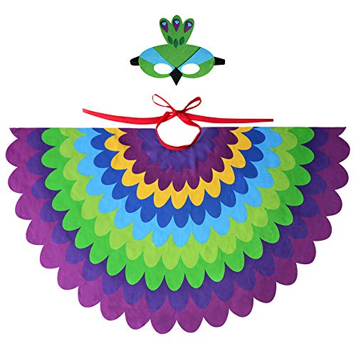 HugeHug Fairy Bird Peacock Costume Wings Feathered with Bird Mask Animal Dress-up Party Supplies for Girls Boys (Purple) ()