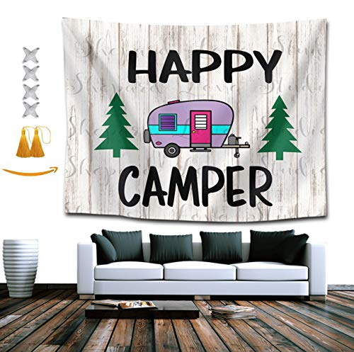BOYOKO ME Happy Camper with Tree Tapestry, Bohemian Wall Tapestry Wall Hanging Tapestry - Wall Indian Decorations Wall Art for Living Room Bedroom Dorm Room 60 x 80 inches