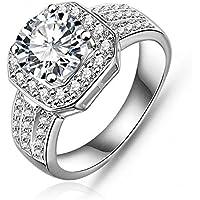 جاربيرييل 18K مطلي كريستال الزركون خاتم الماس حجم 8 هدايا عيد الميلاد