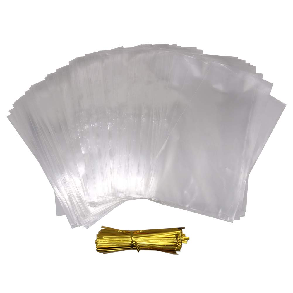 HRX Package 300 Pack Cello Cellophane Treat Bags with 380pcs Gold Twist Ties, 5.9 by 9.8 inch 1.4 Mil Clear OPP Bags for Bakery, Cookies, Candies,Dessert by HRX Package (Image #2)