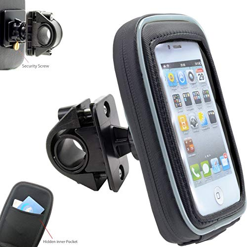 AccessoryBasics 360° Swivel Smartphone Bike Motorcycle Handlebar Mount w/Detachable Water Resistant 3D Touch Enable Case for iPhone XR XS MAX X 8 Plus Galaxy S9 S10 Note (Fits pole/bar up to 1.4 inch ()