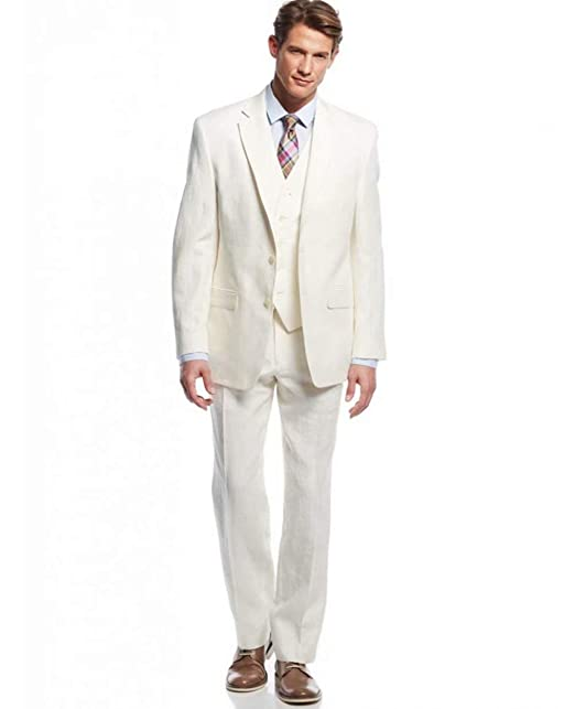 Retro White Linen Suit for Men Casual Wedding Suit for Men ...