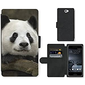PU Cuir Flip Etui Portefeuille Coque Case Cover véritable Leather Housse Couvrir Couverture Fermeture Magnetique Silicone Support Carte Slots Protection Shell // V00000245 Panda // HTC One A9 (Not Fit M9)
