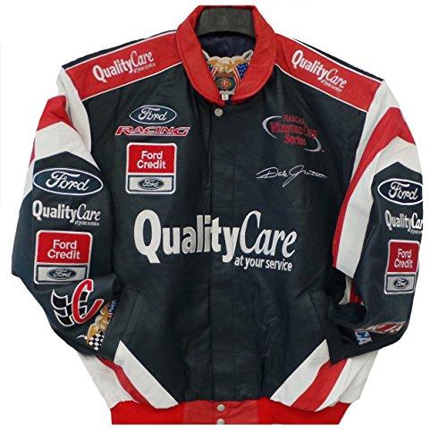 HJ Nascar Quality Care Dale Jarrett Leather Jacket Size Large Navy