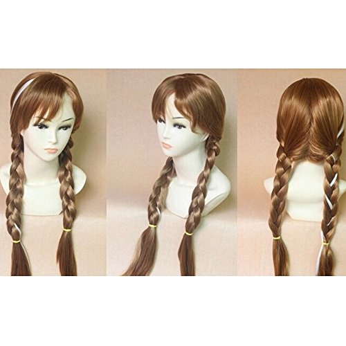 HSG fashion Cosplay snow queen Wigs Princess braid Wig Lady Long Wigs four colors for your choose
