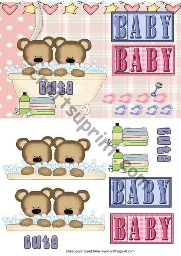 twins new baby quick card front by Sharon Poore