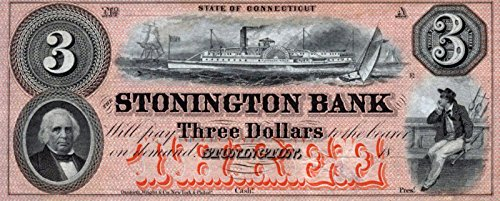 "1857 SUPER STONINGTON CT $3 BANKNOTE w VANDERBILT's ""PLYMOUTH ROCK"" STEAMSHIP (RAN AGROUND on CITY ISLAND NYC!) $3 Choice Crisp Uncirculated"