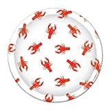 Pack of 96 Disposable White and Red Crawfish Dinner Plates 9