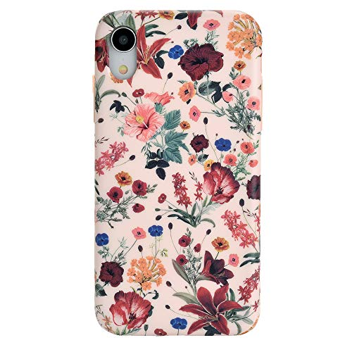 - Vintage Pink Floral iPhone XR Case - Premium Protective Cover - Cute Flower Phone Cases for Girls & Women [Drop Test Certified]