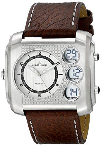 Jacques Lemans Men's 1-1780B Madrid Analog-Digital Display Quartz Brown Watch