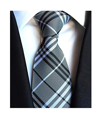 Dress Tie Modern (Men Slim Modern Ties Menswear Elegant Luxury Unique Neckties in Black White Grey)