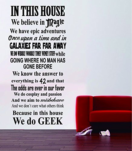 Geek House Quote - Harry Potter Star Wars Movies Wall Decal Monument Mural Decor - Loft Decoration