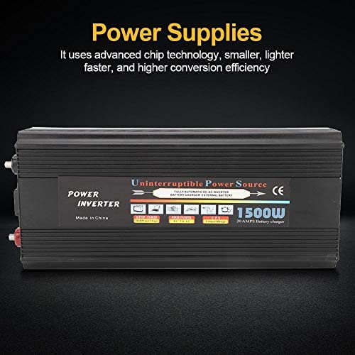 Solar Wechselrichter,Solar Inverter Solar Wechselrichter DC 12 / 24V zu AC 110V / 220V 1500W UPS Modifizierter Sinus Konverter Ladewechselrichter UPS Inverter Solar Wechselrichter(EU)