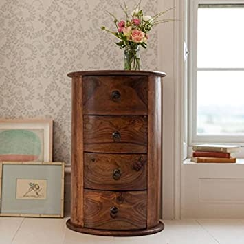 MP Enterprieses Wooden Brown Sideboard Chest of Drawers Storage Cabinet for Living Room | with 4 Drawers