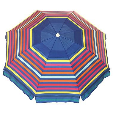 Nautica 7 Foot Beach Umbrella (Rainbow Stripe) For Sale