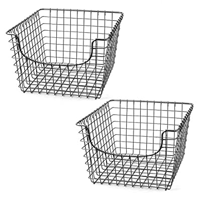 Spectrum Diversified Scoop Wire Storage Basket, Medium, Satin Nickel, 2-Pack - Perfect multifunctional storage solution for any room in the home Open design lets you easily view everything in the basket Made of 100% steel with a simple, stylish, and sturdy construction - living-room-decor, living-room, baskets-storage - 51caMzMvBlL. SS400  -