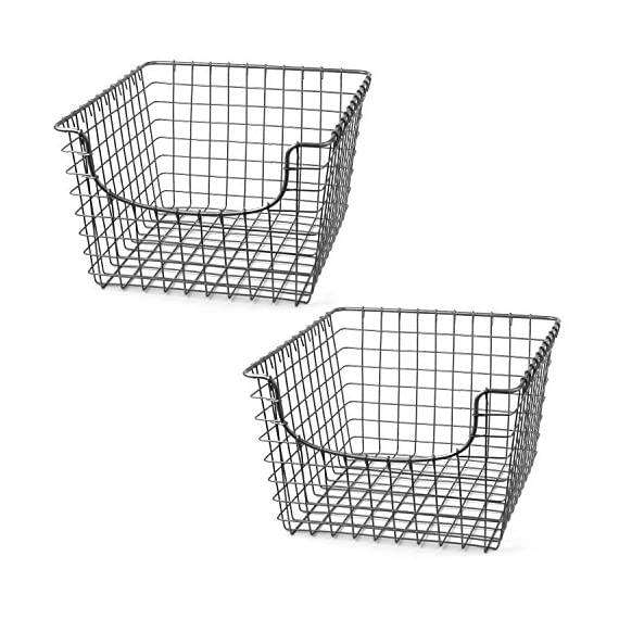 Spectrum Diversified Scoop Wire Storage Basket, Medium, Satin Nickel, 2-Pack - USE STORAGE AS DECORATION: Scooped front makes it easy to grab the items you need out of storage. The wire is stylishly thin, yet sturdy; it can hold heavy canned goods or candles without problem, but the lightweight design creates a modern look. Wrapped wire ends and grid designs create a popular rustic look that will complement farmhouse-style homes. STORE A VARIETY OF ITEMS: Sturdy steel with smooth welds makes this basket appropriate for a variety of items. Slide a basket full of scarves or hats onto your front closet's shelf, keep bath accessories nearby with open storage, or tidy up your pantry by storing all your snacks inside. The durable construction and stylish design make this basket appropriate for storage in any room—from the kitchen to the garage. VIEW ITEMS INSIDE WITH OPEN DESIGN: Open wire design allows you to see the items inside the basket, which makes it easy to find the ingredient, toy, scarf, or any other item you need. Keep your closets, pantry, kitchen cabinets, garage shelves and more organized without sacrificing easy access. - living-room-decor, living-room, baskets-storage - 51caMzMvBlL. SS570  -