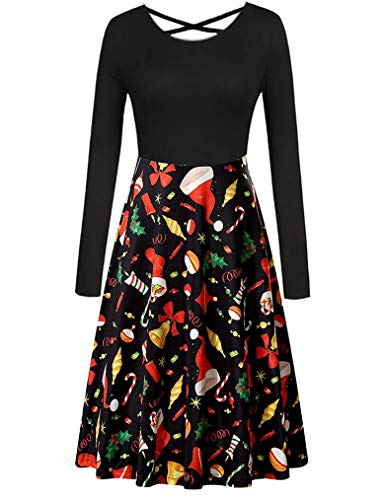 Queensheero Womens Christmas Outfits Long Sleeve Patchwork Ugly Party Dress(M, Black&Hat) for $<!--$18.98-->
