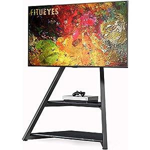 FITUEYES Meuble TV Art Floor de la série Eiffel pour téléviseurs 45-75 pouces Écrans LCD / LED Hauteur réglable Support…