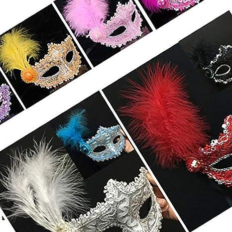 style le plus récent rétro femme Peinture Masque Masque côté Fleur Princesse Plume Masque ...