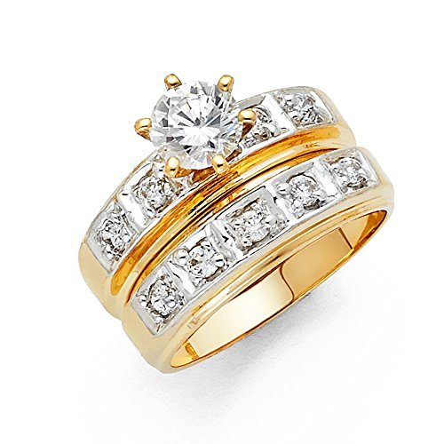 - 14k Two Tone Gold Engagement Ring and Wedding Band 2 Piece Set - Size 8