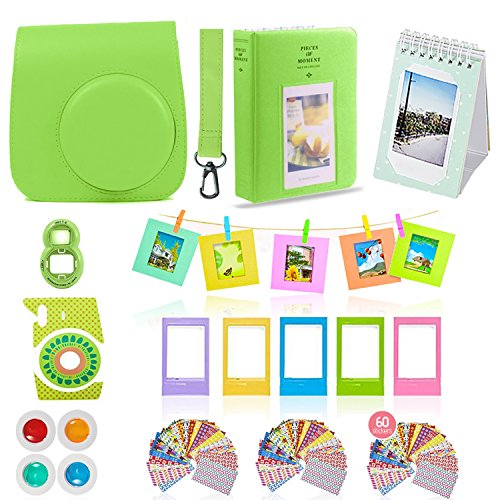 Fujifilm Instax Mini 9 Camera Accessories Bundle, 11 PC Kit Includes:LIME Instax Camera Case + Strap, 2 Albums, Color Filters, Selfie lens, Hanging + Creative Frames, 60 stickers, Gift Set