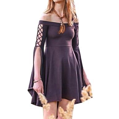 Mujeres Color Sólido Mini Vestido Vintage Traje Medieval ...