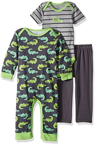 Alligator Long Sleeve - Gerber Baby Boy 3 Piece Coverall, Bodysuit, and Pant Set, Alligator, 18 Months