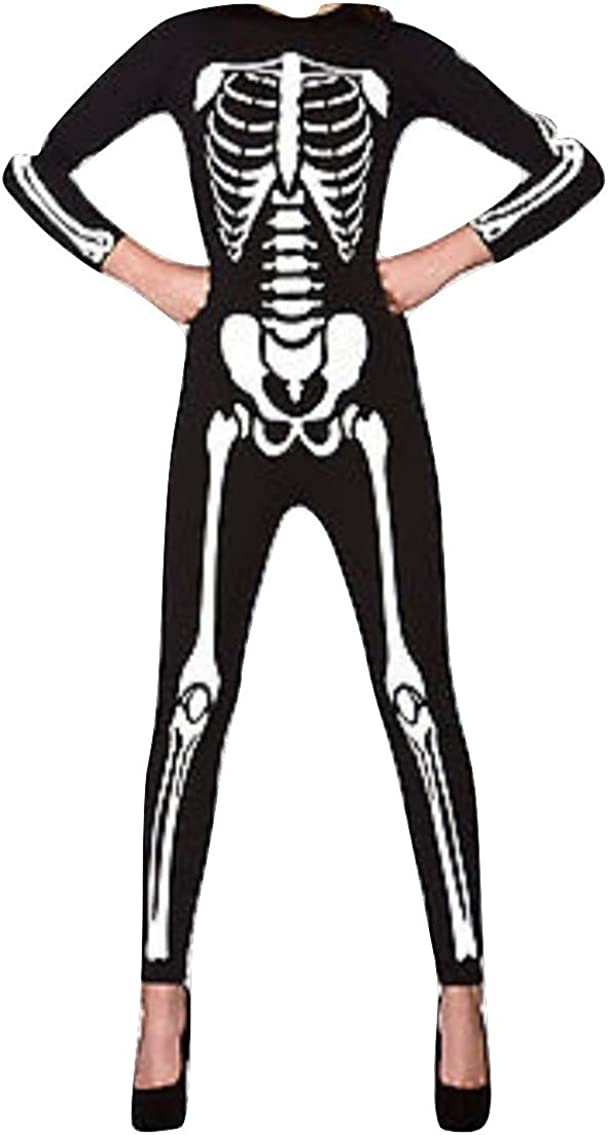 New Womens Alternative Skeleton Bone Halloween Black Fancy Dress Costume Tights