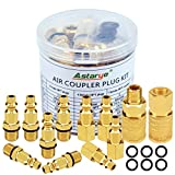 Air Coupler and Plug Kit 1/4'' NPT Air Fittings Astarye 12 Pieces Industrial Type D Quick Connect Set