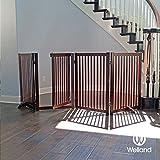WELLAND Freestanding Wood Pet Gate w/ Walk Through Door, 88-Inch, Cherry