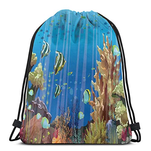 2019 Funny Printed Drawstring Backpacks Bags,Majestic Universe Deep Underwater World Exotic Coral Reef With Sea Creatures Nature,Adjustable String Closure