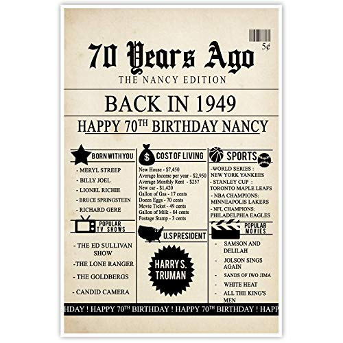 (70th Birthday Newspaper Born in 1949 Stats Sign Photo Prop Poster)