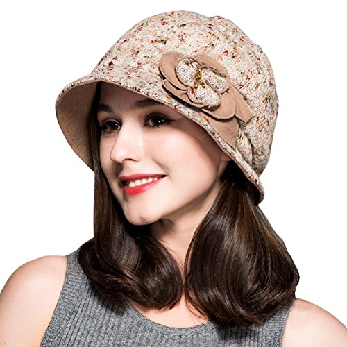 Maitose Women's Decorative Flowers Wool Beret Light Beige