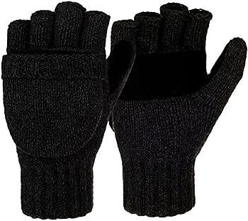 Korlon Winter Warm Wool Knitted Convertible Gloves Mittens