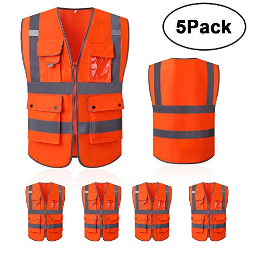High Reflective and Breathable Safety Vest, Bright Neon Color Construction Protector with Reflective Strips and Zipper (Large, Style 5-5 -