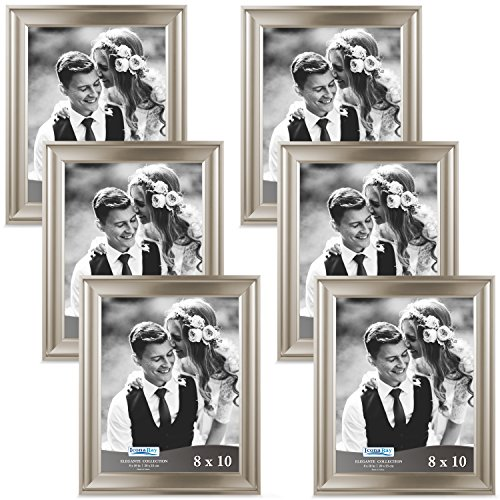re Frame (6 Pack, Champagne), Champagne Photo Frame 8 x 10, Wall Mount or Table Top, Set of 6 Elegante Collection ()