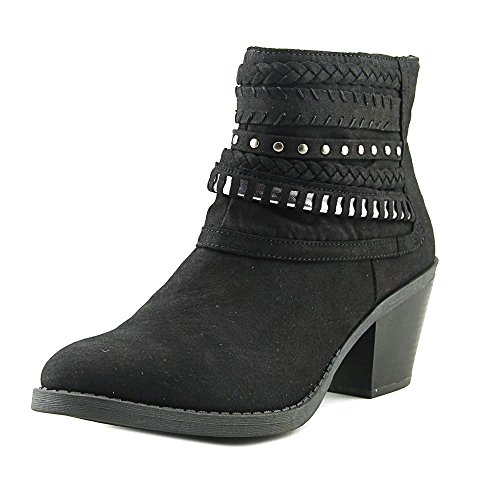 Women's Tall Tale Block Heel Ankle Boot Bootie With Woven Warparounds 9 Black Fabric