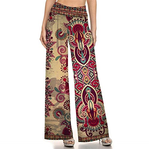 Pantaloni Larghi Waist 8 Fashion Sciolto Palazzo Donna Hippie Estivi Stampa Stile Colour Vintage Pantaloni High Etnico Fiore Tempo Libero Femminile Costume Pantaloni Pantaloni Eleganti 7gqwS5gH