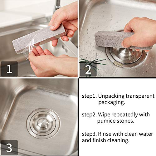 20 Pack Pumice Stones for Cleaning - Pumice Scouring Pad, Grey Pumice Stick Cleaner for Removing Toilet Bowl Ring, Bath, Household, Kitchen, Pool, 5.9 x 1.4 x 0.9 Inch (20 Pack) by Norme (Image #5)