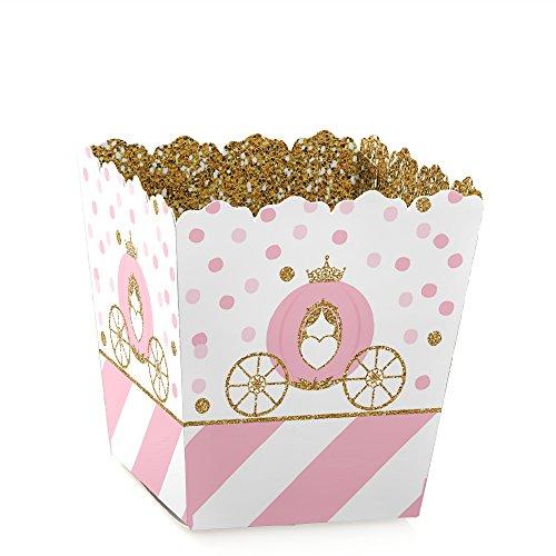 (Little Princess Crown - Party Mini Favor Boxes - Pink and Gold Princess Baby Shower or Birthday Party Treat Candy Boxes - Set of)