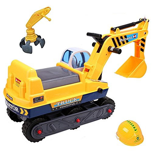 TekBox Childrens Ride on Digger Indoor and Outdoor Push Along Truck with Potty Seat Bucket Truck