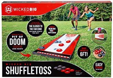 Wicked Big Sports Shuffle Toss-Supersized Game Combining Shuffle Board /& Corn Hole Portable Outdoor Sport Tailgate Backyard Beach Game Red