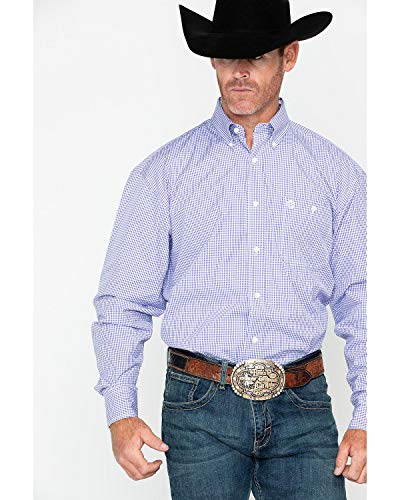 - Wrangler Men's George Strait by Mini Check Plaid Long Sleeve Shirt Purple X-Large