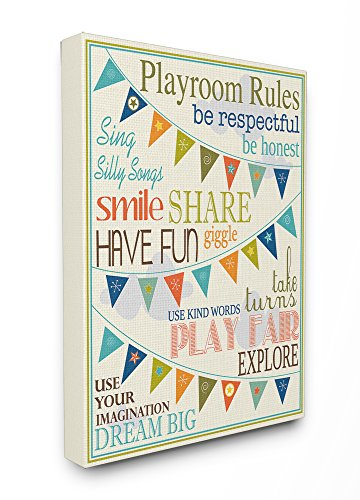 30 Kids Room Decor - The Kids Room by Stupell Playroom Rules with Pennants in Blue, 24 x 30
