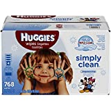 Huggies Simply Clean Baby Wipes, Unscented, Refill, 768 Ct (Packaging May Vary)